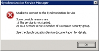 Unable to connect /Open to the Synchronization Service.